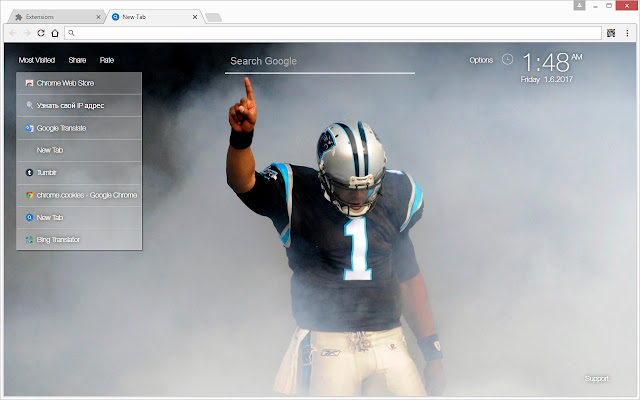 sale retailer 84fd0 8ceda NFL Cam Newton Wallpaper HD New Tab Themes
