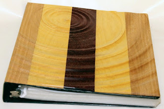"Photo: Bob Grudberg 9"" x 11"" book [yellowheart, purpleheart, and sycamore]"