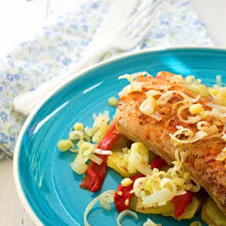 Grilled Cod with Potato, Leek and Pepper.