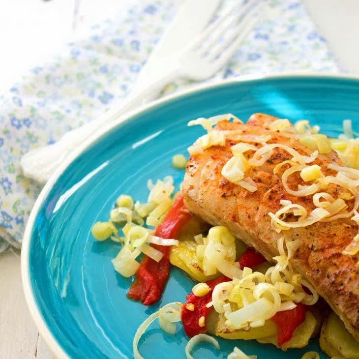 Grilled Cod with Potato, Leek and Pepper Recipe
