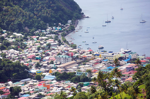 Soufriere-from-above2.jpg - A view of Soufrière, which rests at the foot of the Pitons in St. Lucia.