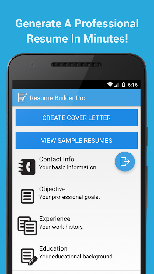 resume builder pro screenshot - Mobile Resume Builder