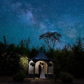 Underneath the stars by Paul Duane - Wedding Bride & Groom ( love, ireland, wedding, stars, night, bride )
