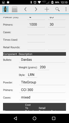 Reloading Calculator - Ammo - screenshot