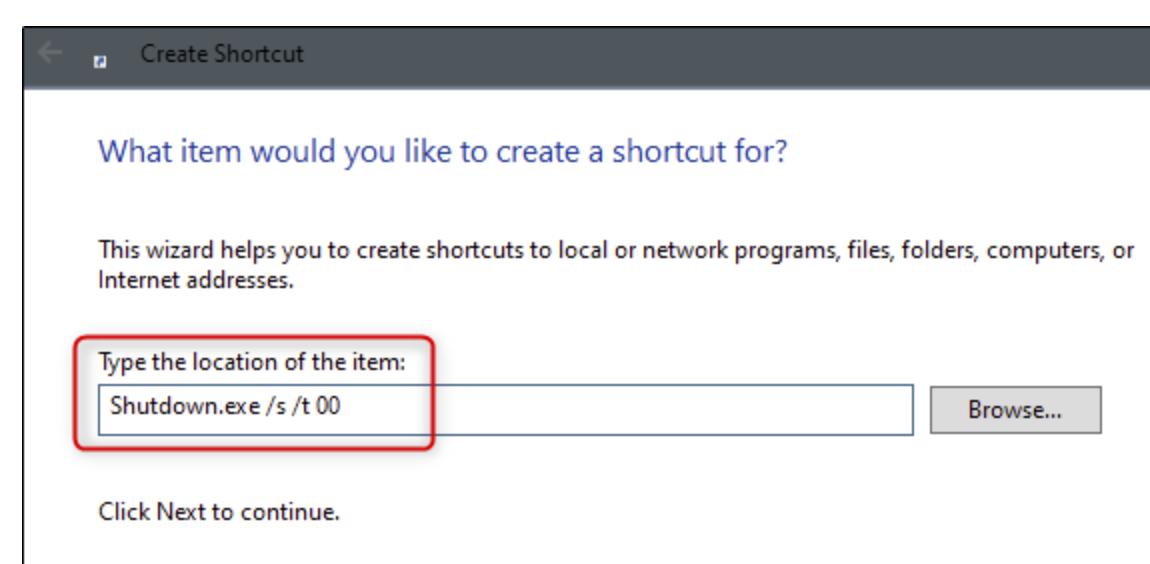 Create shortcut icon for Windows 10 to shutdown