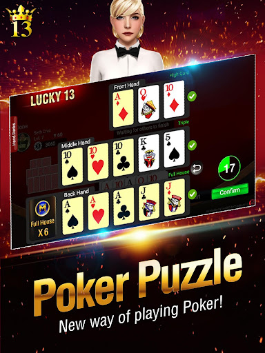 Lucky 13: 13 Card Poker Puzzle