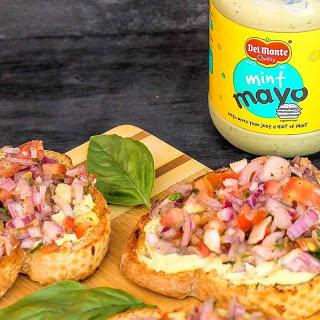 Tomato Onion Bruschetta with Mint Mayo