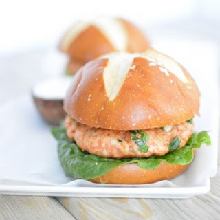 Salmon Burgers with Cilantro Mayo.