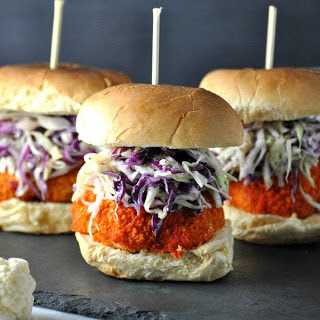 Buffalo Cauliflower Sliders With Blue Cheese Sauce [Vegan]
