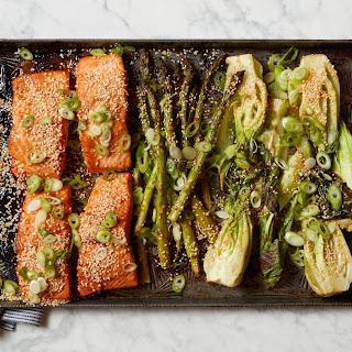 Miso Salmon with Bok Choy and Asparagus.