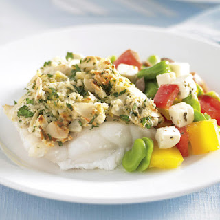 Almond Crusted Fish with Edamame Salad.
