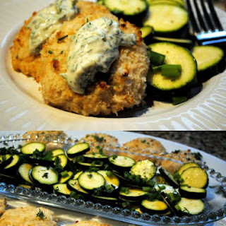 Baked Tilapia Fish Cakes with Zucchini Salad and Tartar Sauce.