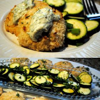 Baked Tilapia Fish Cakes with Zucchini Salad and Tartar Sauce.