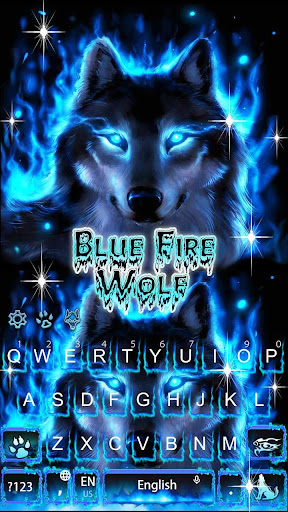 Blue Fire Wolf Keyboard Theme 10001004 screenshots 2