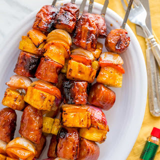 Grilled Brunch Skewers with Spicy Maple Glaze.
