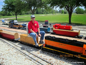 Photo: Engineer Brian Campopiano with BNSF 2008     HALS Public Run Day 2014-0419 DH3
