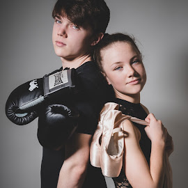 Siblings at war by Vix Paine - Babies & Children Child Portraits ( boxer, ballerina, ballet, dancer, colour, contrast, boxing, pointe shoes, ballet shoes, kickboxer, dance, brother, sister )