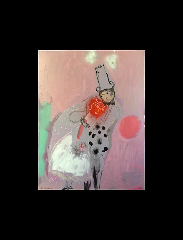 man-dreaming-homme-reve-reveur-woman-couple-rose-baby-dream-amoureux-lover-childhood-enfance-sophielormeau-lormeau-artiste-peinture-french-artist-art-tableau-toile-painting-peinture-canvas-bb
