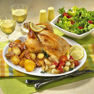 Roasted Lemon Chicken with Bacon Potatoes and Summer Vegetables