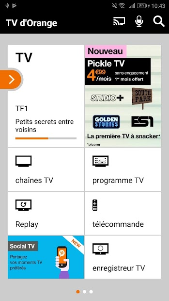 TV d'Orange, live-replay-vod Android App Screenshot