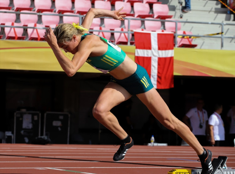 Zeney van der Walt of South Africa at the start of the heats in the women's 400m hurdles during the morning session on day 2 of the IAAF World U20 Championships at Tampere Stadium on July 11, 2018 in Tampere, Finland.