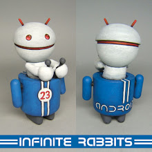 Photo: The second Oddroid, Racer D. This time I'm giving advance notice before it's available in the online store. It will be available around 10pm EST, Sunday (June 22.)  If I could find a good/cheap source for the small Trexi (the robot body) I would consider doing a small series (like maybe 5 more) of these in different colors. But, for the moment (at least), this is the only one.