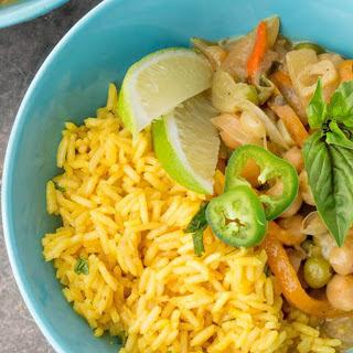 Coconut Basil Curry and Turmeric Pilaf [Vegan]