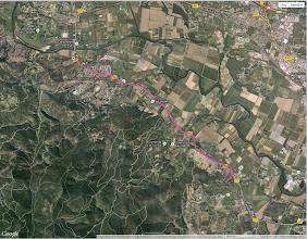 Photo: Voici le parcours de la randonnée, partis à 18h40 pour un peu plus d'une heure et presque 11 kms. Nous avons fait demi-tour après avoir rendu une visite surprise à Pascal et Cécile.