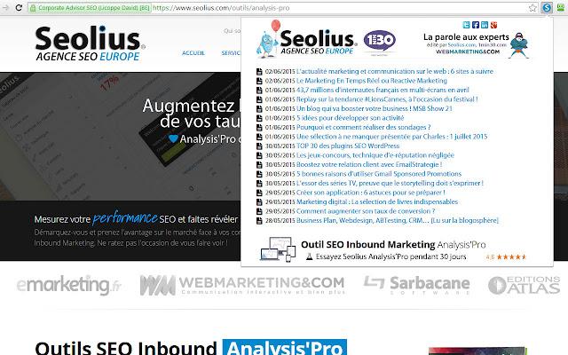 Le Direct Seolius et des experts e-marketing chrome extension