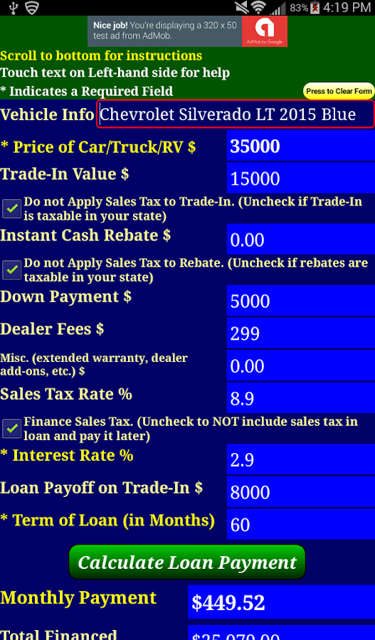 Car Loan Payment Calculator Android Apps On Google Play