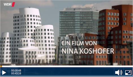 Bild aus Video: moderne Architektur in NRW. Eingeblendet: «Ein Film von Nina Koshofer».