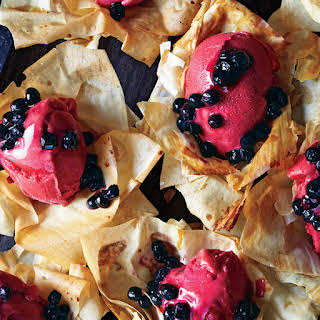 Phyllo Flowers with Sorbet and Blueberries.