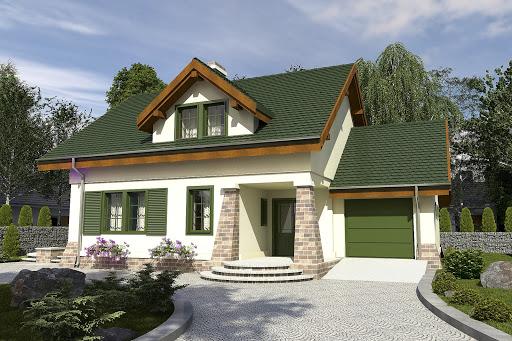 projekt Sowa z garażem 1-st. A