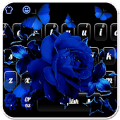 Blue Rose Butterfly Keyboard