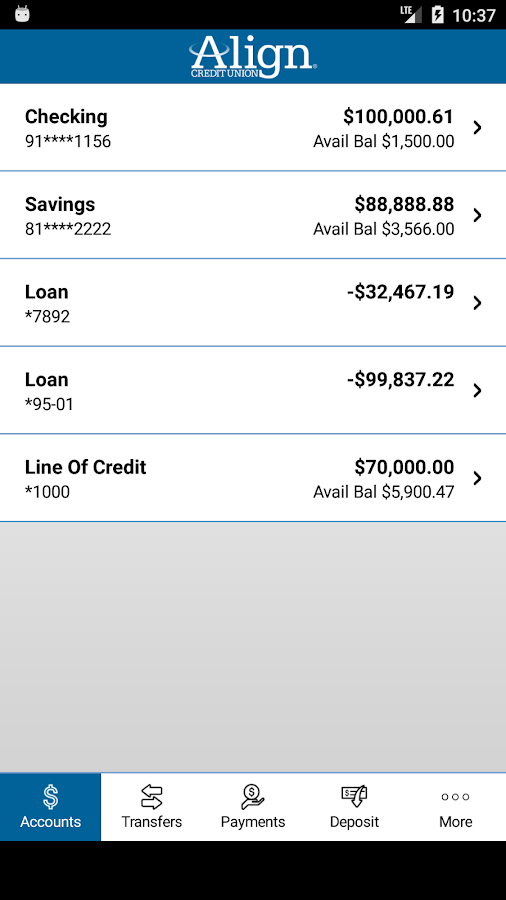 Align Credit Union Mobile App- screenshot