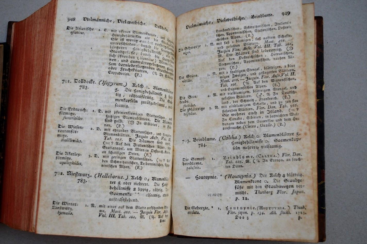 Des Ritters Carl von Linné Pflanzensystem nach seinen Klassen, Ordnungen, Gattungen und Arten mit Erkennungs und Unterscheidungszeichen, 14. Auflage von 1786