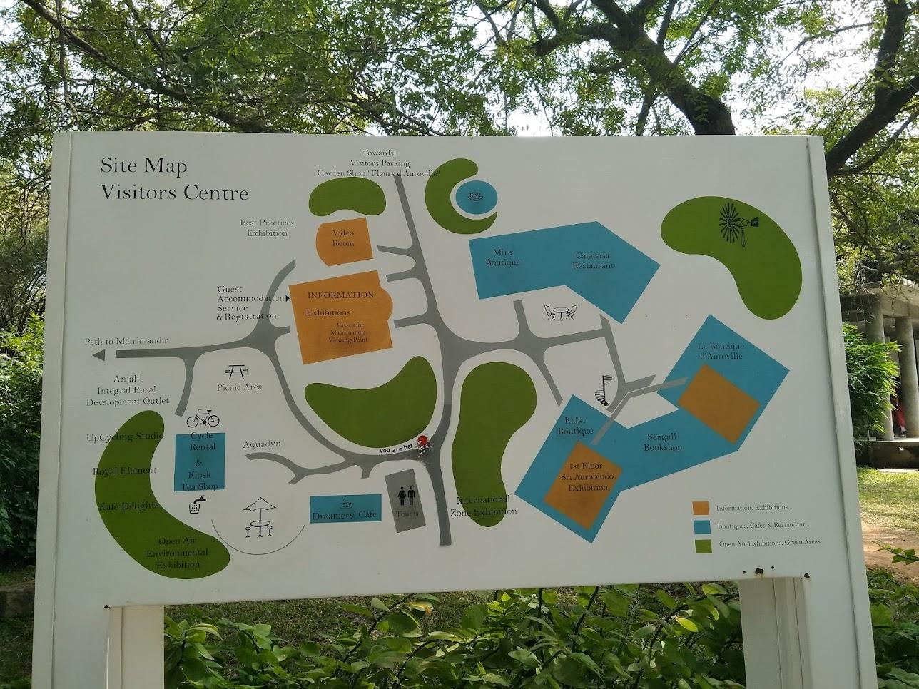 オーロビルのビジターセンターの地図