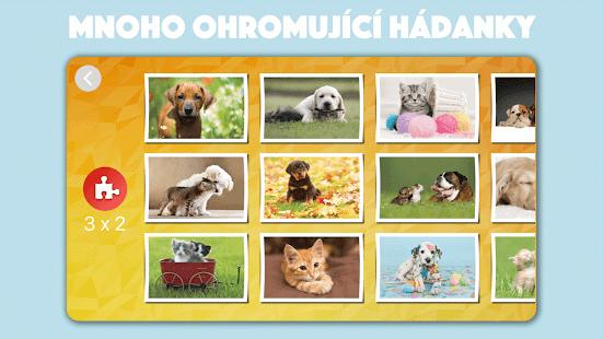 Roztomilý pes a kočka puzzle - náhled