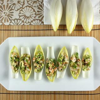Sesame-Infused Shrimp and Avocado Salad on Endive Leaves