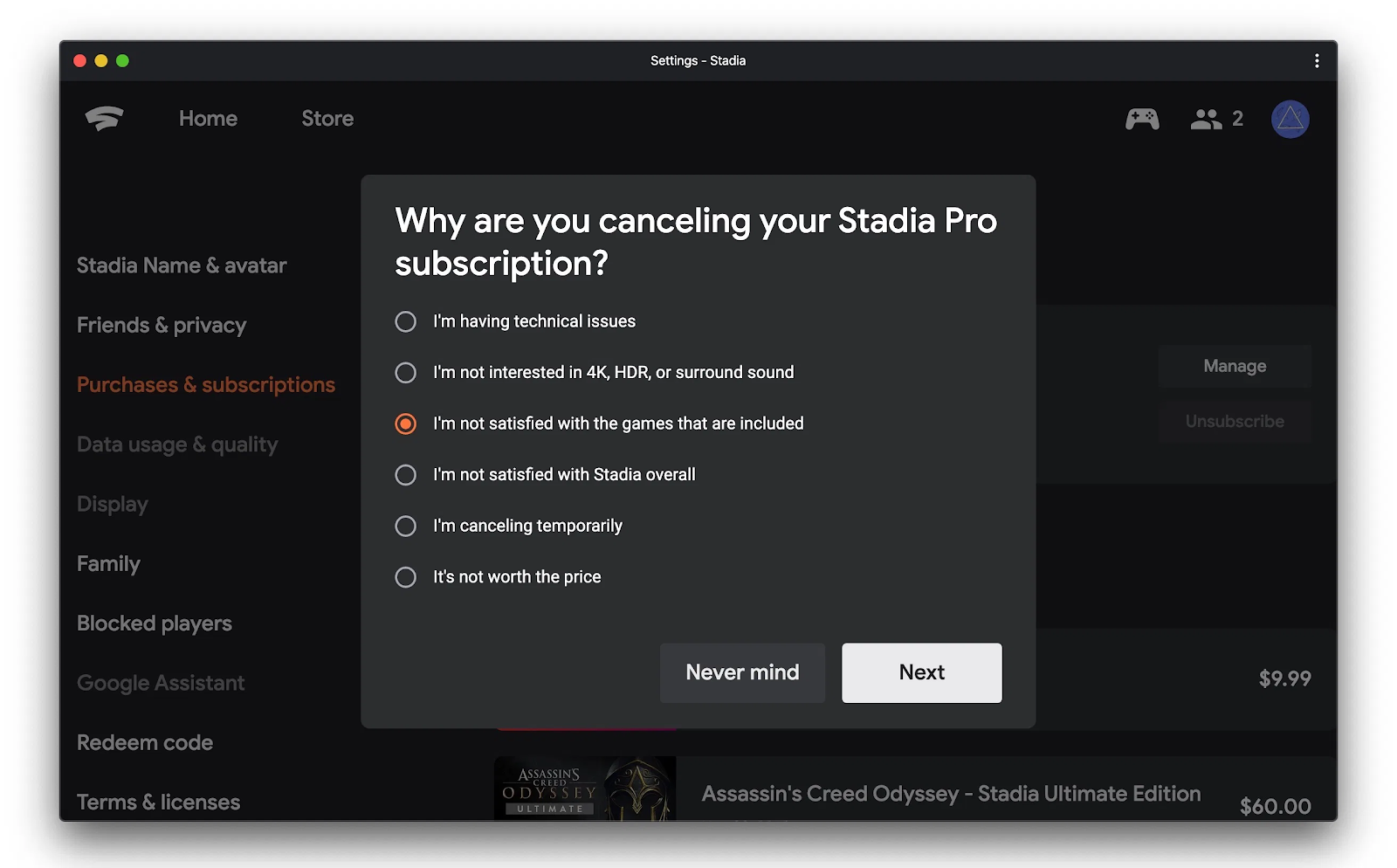 Stadia Pro cancellation survey flow