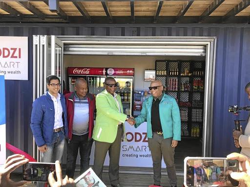 Tyme Bank CEO Tariq Keeran, Pamodzi Smart CEO Sehume Motswenyane, Ndaba Ntsele and MEC Kgosientso Ramokgopa at the launch of flagship store in Diepklooof, Soweto, yesterday.