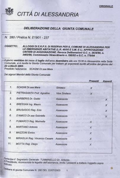 Photo: pagina 1 deliberazione comunale n. 280 del 22 settembre 2003 (superata ?)