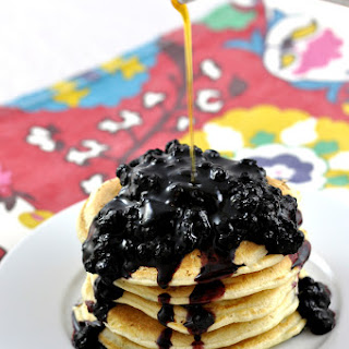 Coconut Almond Milk Pancakes with a Blueberry Compote