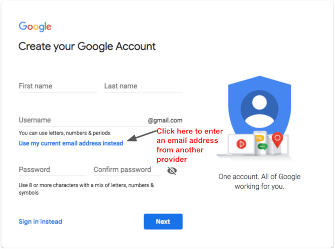 Transfer Google Fiber service to a non-Gmail email address