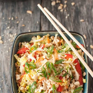 Asian Chicken Salad with Spicy Sriracha Dressing.