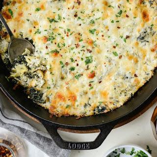 Four Cheese Spinach Artichoke Dip.