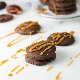 Vegan Salted Date Caramel Chocolate Cookies.