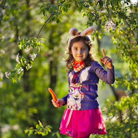 Bunying around by Nicu Buculei - Babies & Children Child Portraits ( girl, easter, bunny, play, children, kids, portrait,  )