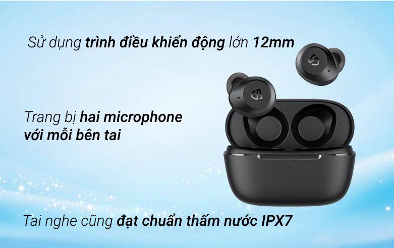 Tai nghe Bluetooth True Wireless Soundpeats T2 (Đen)| Sử dụng trình điều khiển rộng