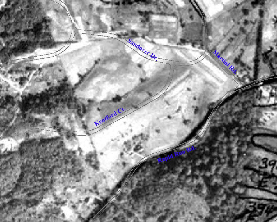 Photo: 1938 Aerial Photo with pavement overlay and street names